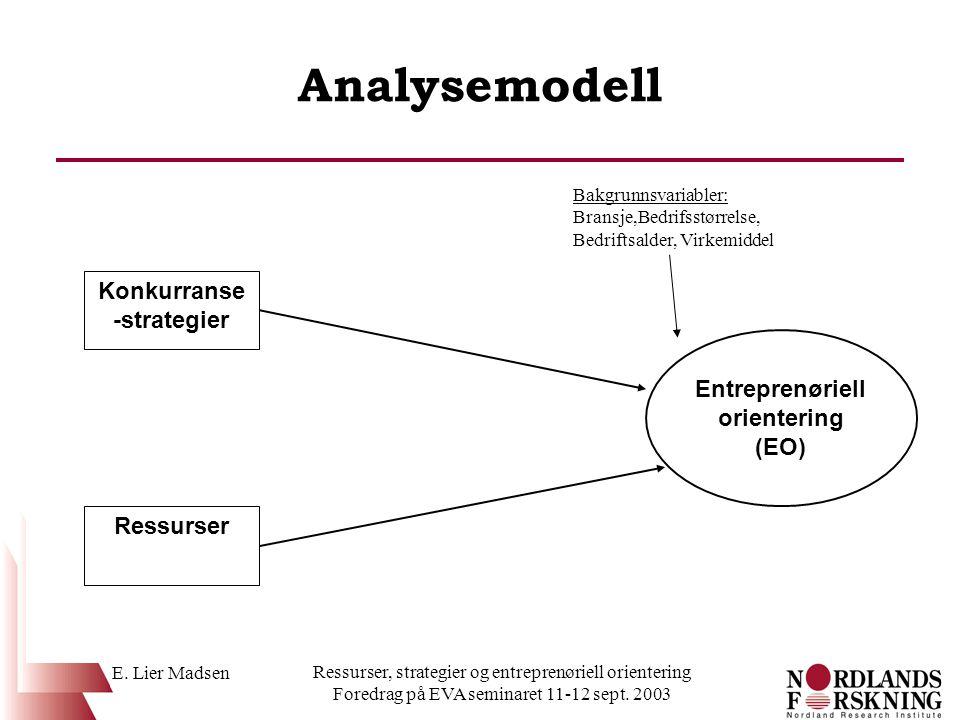 E. Lier Madsen Ressurser, strategier og entreprenøriell orientering Foredrag på EVA seminaret 11-12 sept. 2003 Analysemodell Konkurranse -strategier R