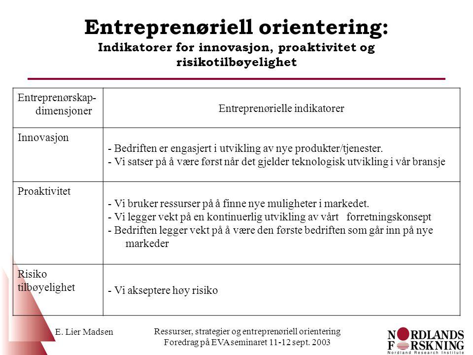 E. Lier Madsen Ressurser, strategier og entreprenøriell orientering Foredrag på EVA seminaret 11-12 sept. 2003 Entreprenøriell orientering: Indikatore