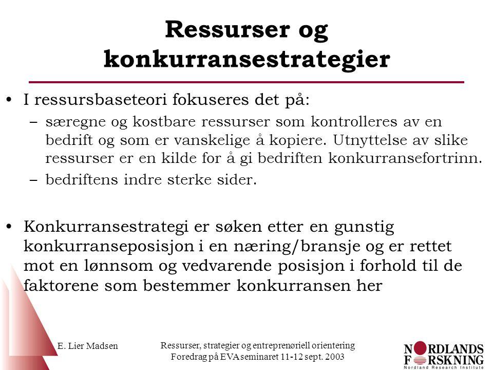 E. Lier Madsen Ressurser, strategier og entreprenøriell orientering Foredrag på EVA seminaret 11-12 sept. 2003 Ressurser og konkurransestrategier I re