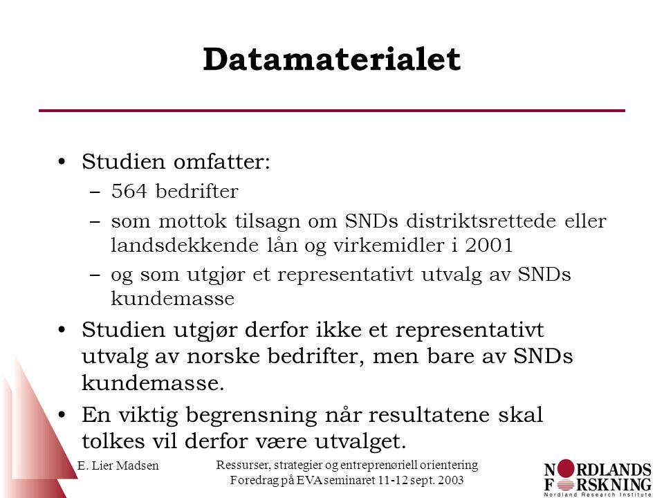 E. Lier Madsen Ressurser, strategier og entreprenøriell orientering Foredrag på EVA seminaret 11-12 sept. 2003 Datamaterialet Studien omfatter: –564 b