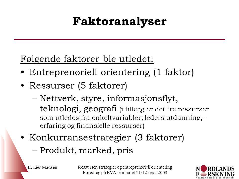 E. Lier Madsen Ressurser, strategier og entreprenøriell orientering Foredrag på EVA seminaret 11-12 sept. 2003 Faktoranalyser Følgende faktorer ble ut