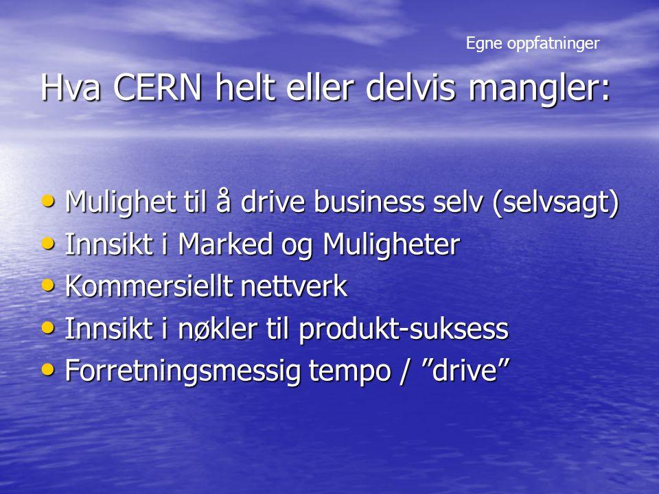 Hva CERN helt eller delvis mangler: Mulighet til å drive business selv (selvsagt) Mulighet til å drive business selv (selvsagt) Innsikt i Marked og Muligheter Innsikt i Marked og Muligheter Kommersiellt nettverk Kommersiellt nettverk Innsikt i nøkler til produkt-suksess Innsikt i nøkler til produkt-suksess Forretningsmessig tempo / drive Forretningsmessig tempo / drive Egne oppfatninger