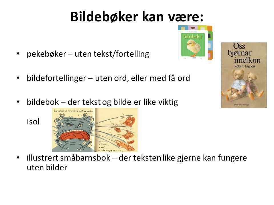 Bildebøker kan være: pekebøker – uten tekst/fortelling bildefortellinger – uten ord, eller med få ord bildebok – der tekst og bilde er like viktig Iso