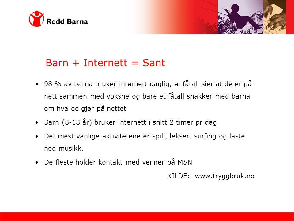 Barn + Internett = Sant 98 % av barna bruker internett daglig, et fåtall sier at de er på nett sammen med voksne og bare et fåtall snakker med barna om hva de gjør på nettet Barn (8-18 år) bruker internett i snitt 2 timer pr dag Det mest vanlige aktivitetene er spill, lekser, surfing og laste ned musikk.