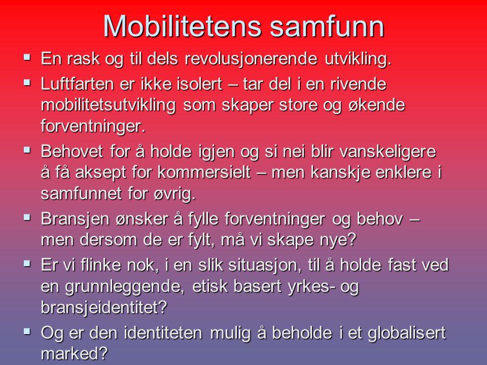 Mobilitetens samfunn  En rask og til dels revolusjonerende utvikling.  Luftfarten er ikke isolert – tar del i en rivende mobilitetsutvikling som ska