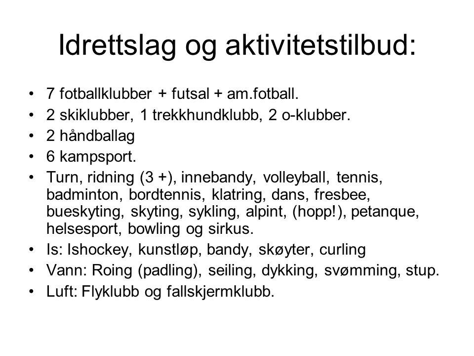 Idrettslag og aktivitetstilbud: 7 fotballklubber + futsal + am.fotball.