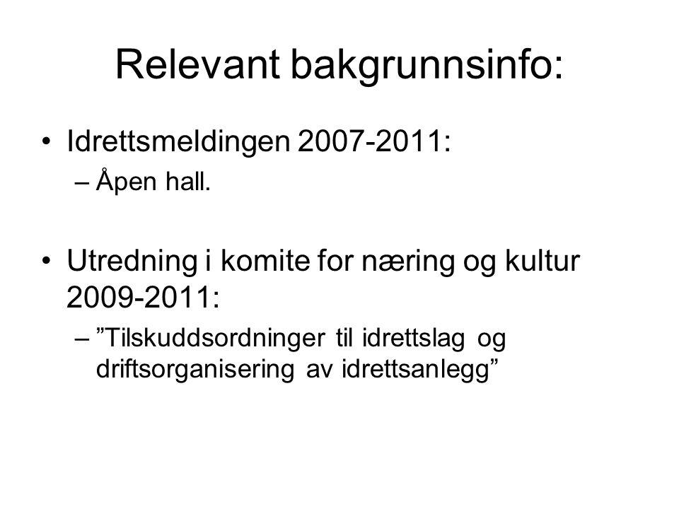 Relevant bakgrunnsinfo: Idrettsmeldingen 2007-2011: –Åpen hall.