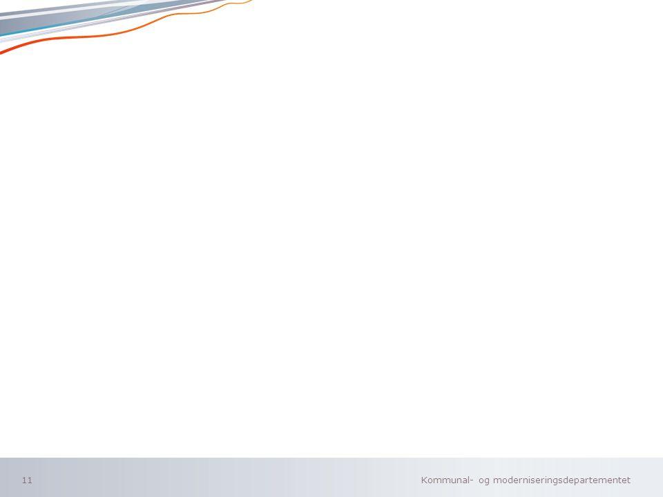 Kommunal- og moderniseringsdepartementet Norsk mal: To innholdsdeler - Sammenlikning 11
