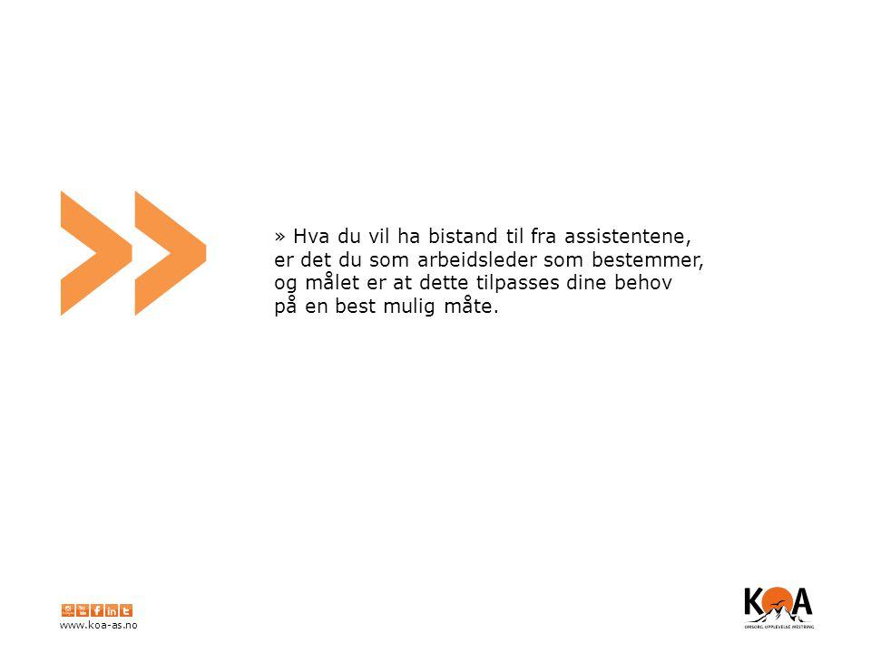 www.koa-as.no » » Hva du vil ha bistand til fra assistentene, er det du som arbeidsleder som bestemmer, og målet er at dette tilpasses dine behov på en best mulig måte.