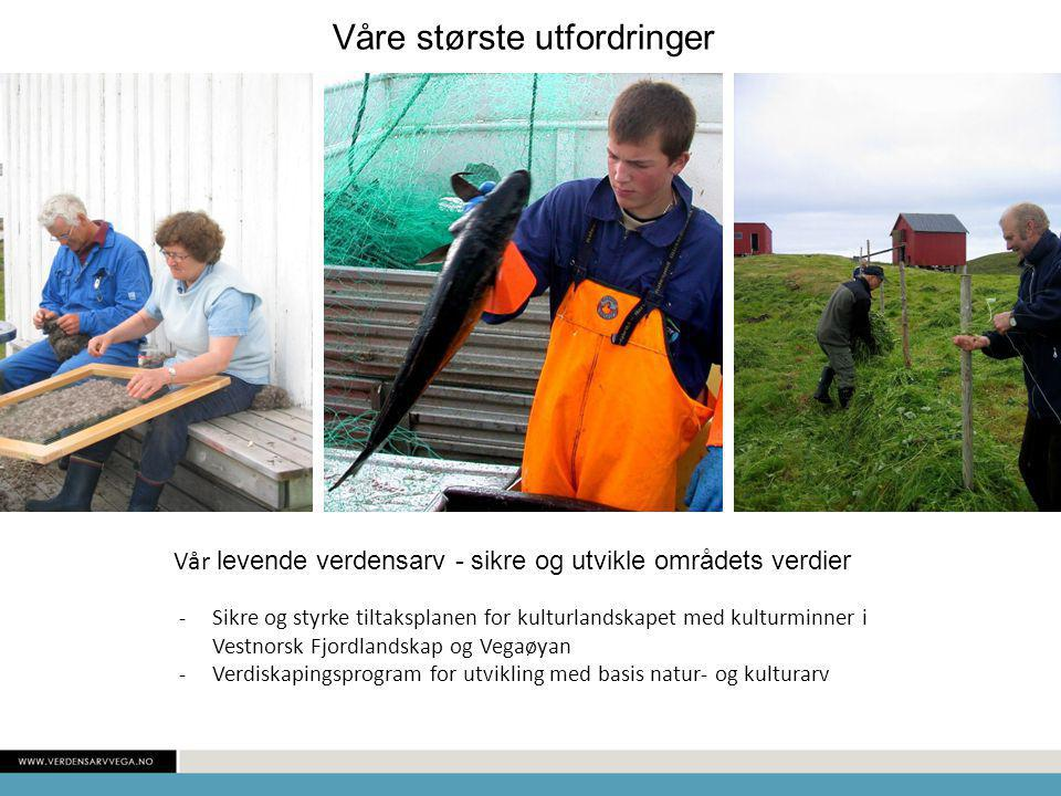 Vår levende verdensarv - sikre og utvikle områdets verdier -Sikre og styrke tiltaksplanen for kulturlandskapet med kulturminner i Vestnorsk Fjordlandskap og Vegaøyan -Verdiskapingsprogram for utvikling med basis natur- og kulturarv Våre største utfordringer