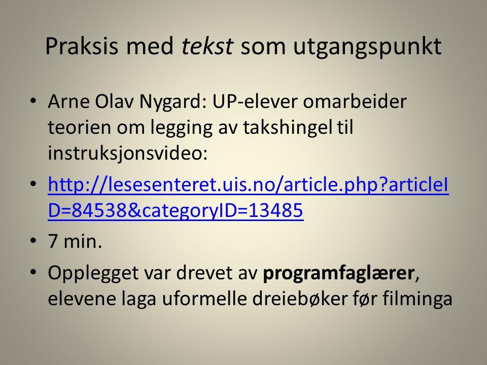 Praksis med tekst som utgangspunkt Arne Olav Nygard: UP-elever omarbeider teorien om legging av takshingel til instruksjonsvideo: http://lesesenteret.
