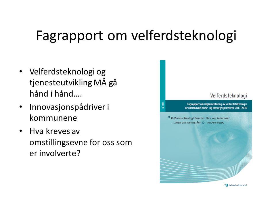 IKT i kommune- forvaltningen NAV hjelpe- midler Velferds- teknologi IKT i helse Morgendagens omsorg, Meld.St.29 (s.110) Tele medi sin