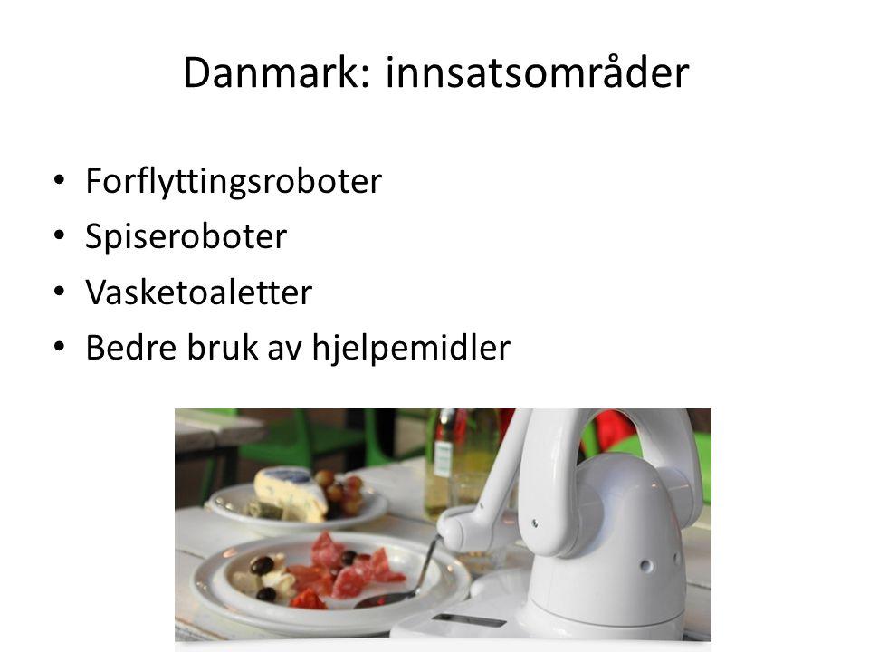 Danmark: innsatsområder Forflyttingsroboter Spiseroboter Vasketoaletter Bedre bruk av hjelpemidler