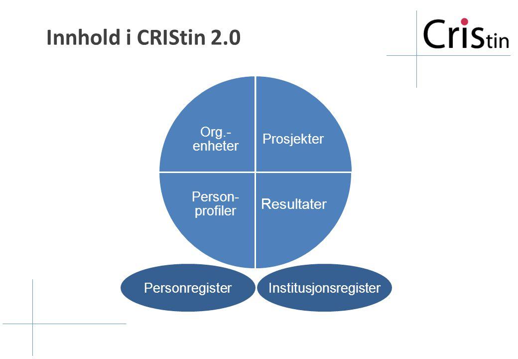 Prosjekter Resultater Person- profiler Org.- enheter Innhold i CRIStin 2.0 PersonregisterInstitusjonsregister
