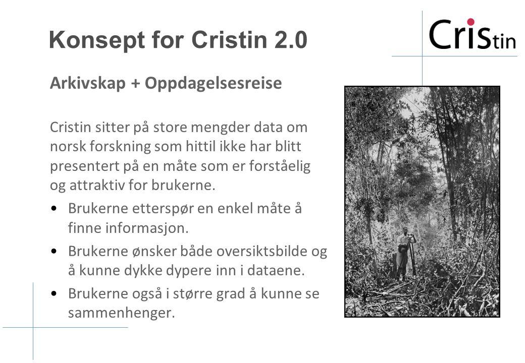 Konsept for Cristin 2.0 Arkivskap + Oppdagelsesreise Cristin sitter på store mengder data om norsk forskning som hittil ikke har blitt presentert på e