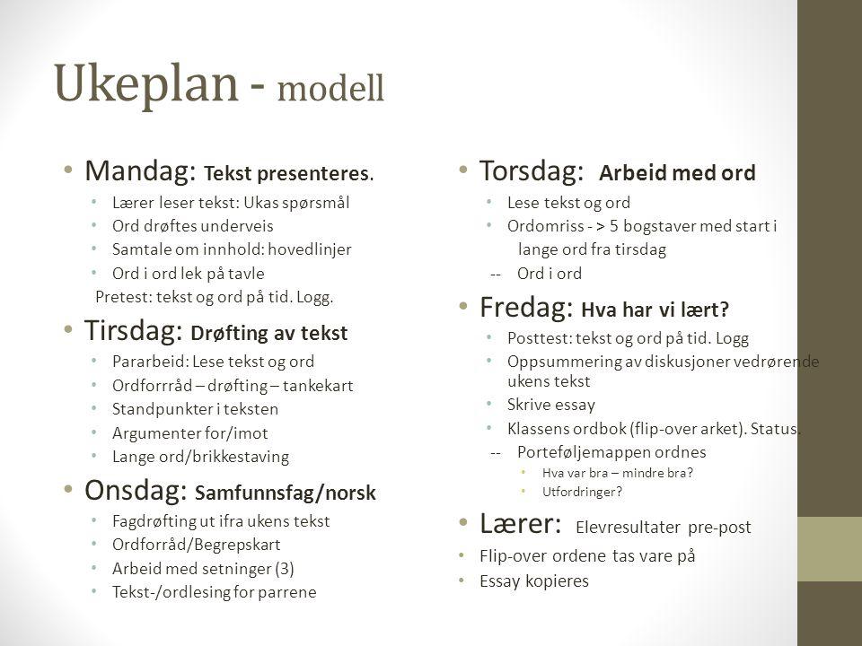 Ukeplan - modell Mandag: Tekst presenteres. Lærer leser tekst: Ukas spørsmål Ord drøftes underveis Samtale om innhold: hovedlinjer Ord i ord lek på ta