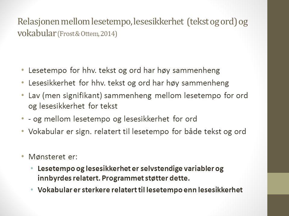 Relasjonen mellom lesetempo, lesesikkerhet (tekst og ord) og vokabular (Frost & Ottem, 2014) Lesetempo for hhv. tekst og ord har høy sammenheng Lesesi