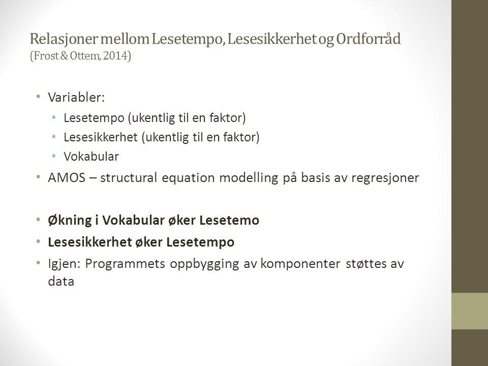 Relasjoner mellom Lesetempo, Lesesikkerhet og Ordforråd (Frost & Ottem, 2014) Variabler: Lesetempo (ukentlig til en faktor) Lesesikkerhet (ukentlig ti