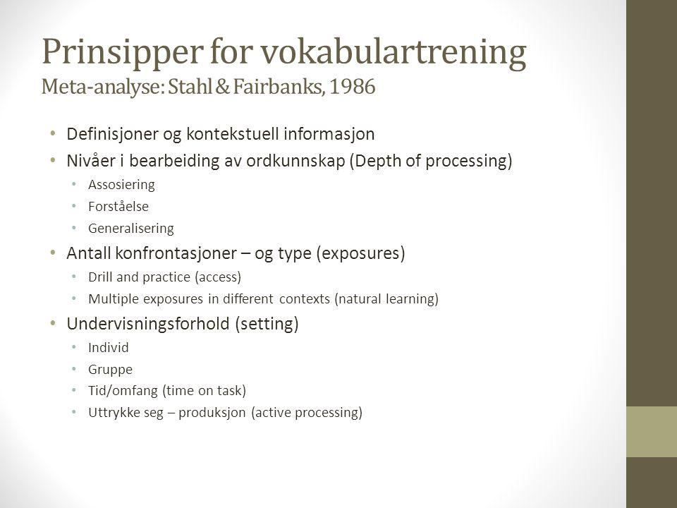 Prinsipper for vokabulartrening Meta-analyse: Stahl & Fairbanks, 1986 Definisjoner og kontekstuell informasjon Nivåer i bearbeiding av ordkunnskap (De