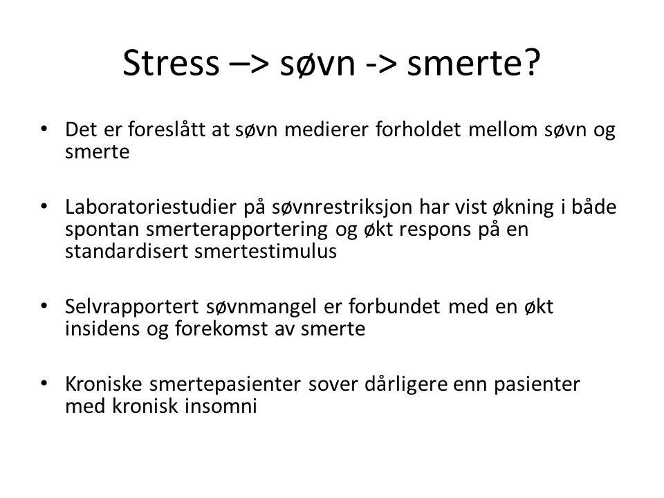 Stress –> søvn -> smerte? Det er foreslått at søvn medierer forholdet mellom søvn og smerte Laboratoriestudier på søvnrestriksjon har vist økning i bå