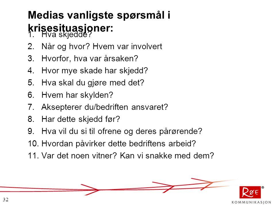 32 Medias vanligste spørsmål i krisesituasjoner: 1.Hva skjedde? 2.Når og hvor? Hvem var involvert 3.Hvorfor, hva var årsaken? 4.Hvor mye skade har skj