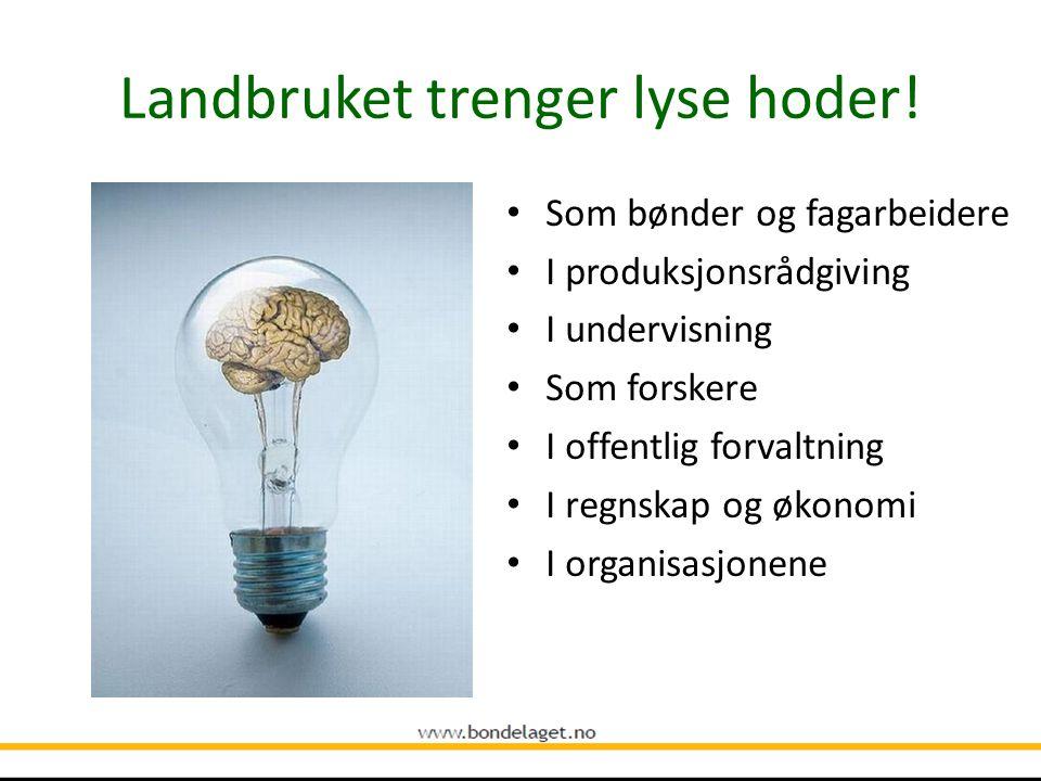 Landbruket i samfunnet Hver tiende bedrift i Norge er en landbruksbedrift Landbruks- og matindustrien sysselsetter 90.000 Den største verdikjeden i fa
