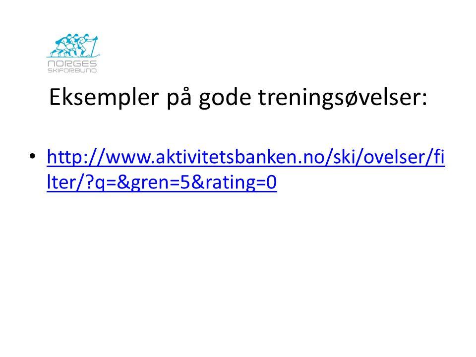 Eksempler på gode treningsøvelser: http://www.aktivitetsbanken.no/ski/ovelser/fi lter/?q=&gren=5&rating=0 http://www.aktivitetsbanken.no/ski/ovelser/f