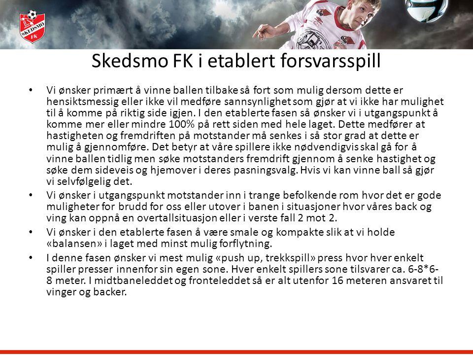 Skedsmo FK i etablert forsvarsspill Vi ønsker primært å vinne ballen tilbake så fort som mulig dersom dette er hensiktsmessig eller ikke vil medføre s