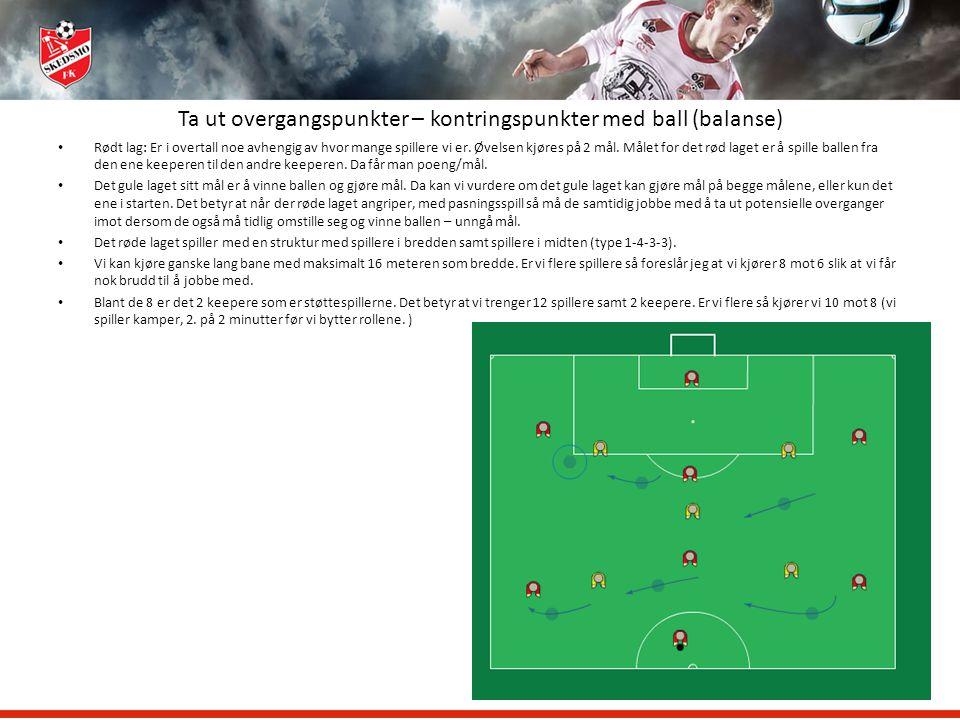 Ta ut overgangspunkter – kontringspunkter med ball (balanse) Rødt lag: Er i overtall noe avhengig av hvor mange spillere vi er. Øvelsen kjøres på 2 må