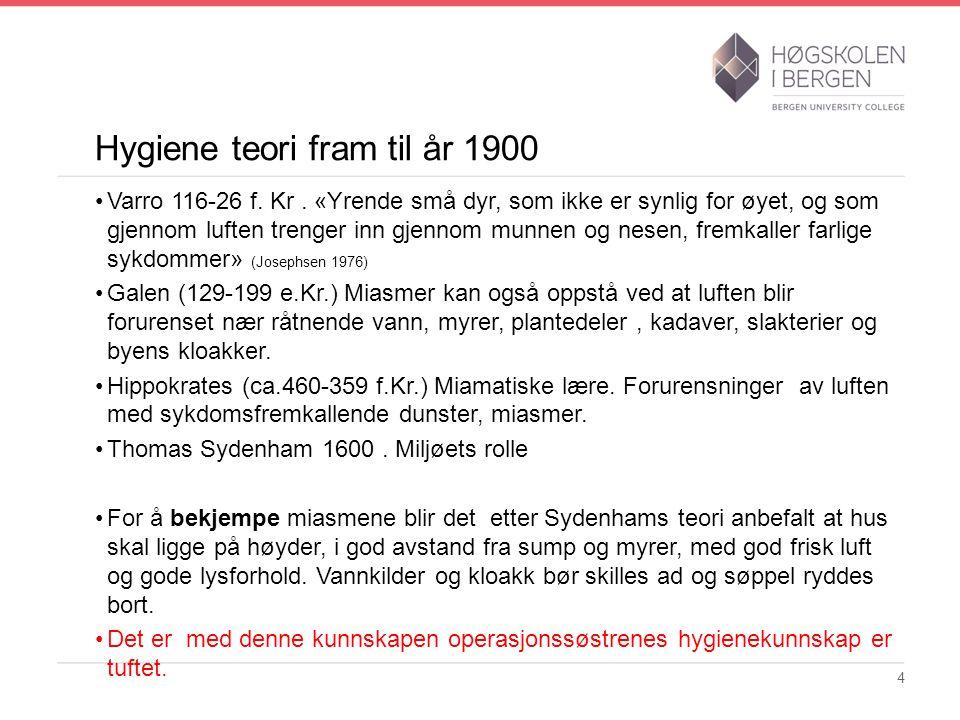 Hygiene teori fram til år 1900 Varro 116-26 f. Kr. «Yrende små dyr, som ikke er synlig for øyet, og som gjennom luften trenger inn gjennom munnen og n