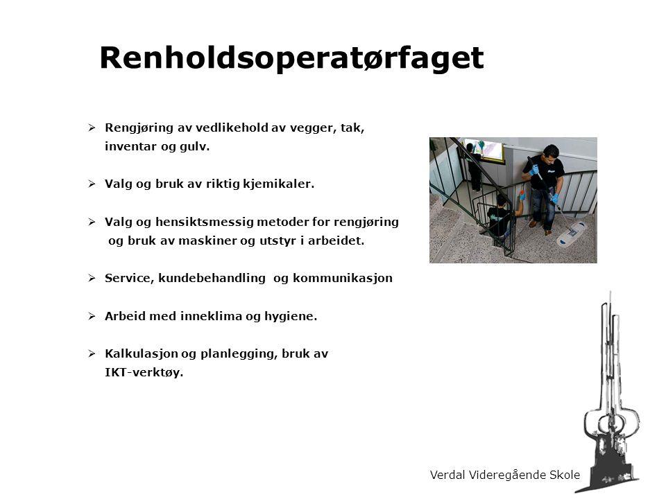 Verdal Videregående Skole Renholdsoperatørfaget  Rengjøring av vedlikehold av vegger, tak, inventar og gulv.