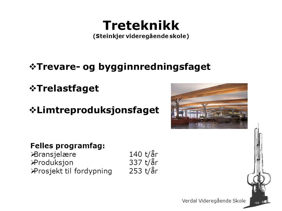 Verdal Videregående Skole Treteknikk (Steinkjer videregående skole)  Trevare- og bygginnredningsfaget  Trelastfaget  Limtreproduksjonsfaget Felles
