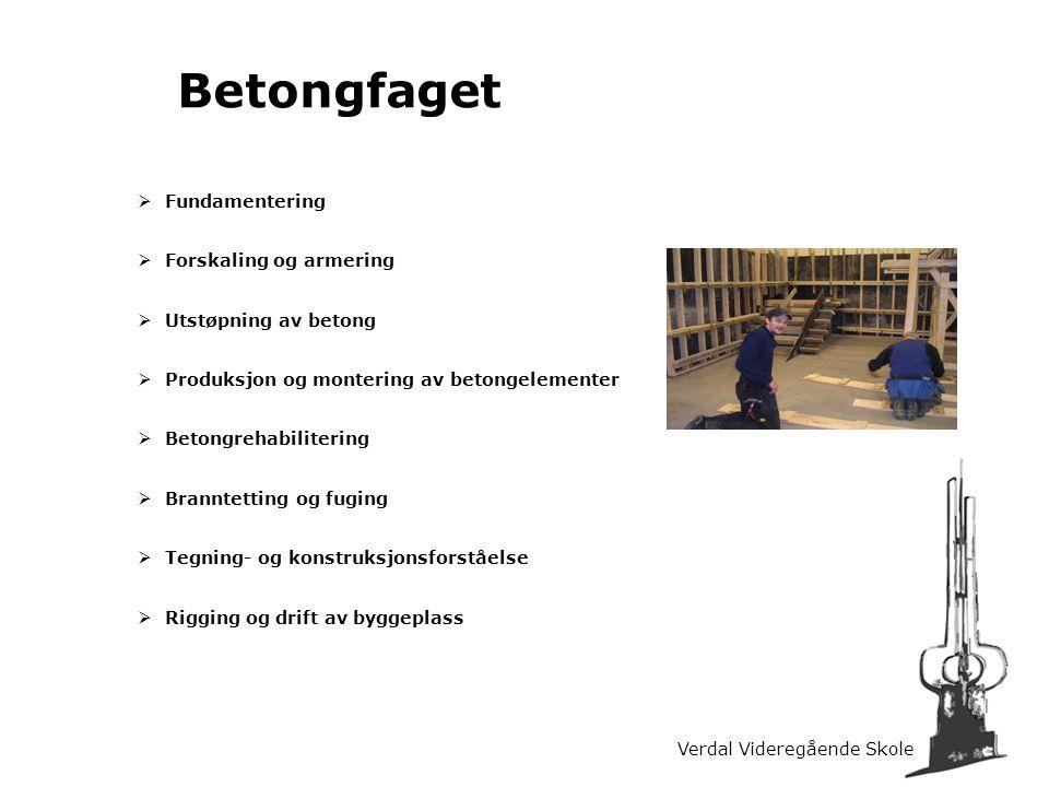 Verdal Videregående Skole Betongfaget  Fundamentering  Forskaling og armering  Utstøpning av betong  Produksjon og montering av betongelementer 
