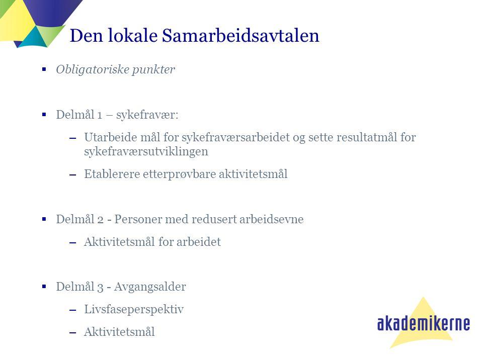 Den lokale Samarbeidsavtalen  Obligatoriske punkter  Delmål 1 – sykefravær: –Utarbeide mål for sykefraværsarbeidet og sette resultatmål for sykefrav