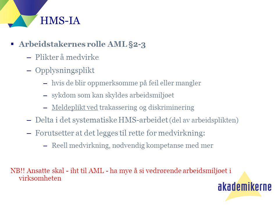 HMS-IA  Arbeidstakernes rolle AML §2-3 –Plikter å medvirke –Opplysningsplikt –hvis de blir oppmerksomme på feil eller mangler –sykdom som kan skyldes