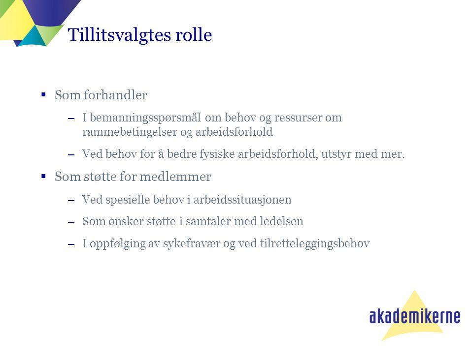 Tillitsvalgtes rolle  Som forhandler –I bemanningsspørsmål om behov og ressurser om rammebetingelser og arbeidsforhold –Ved behov for å bedre fysiske