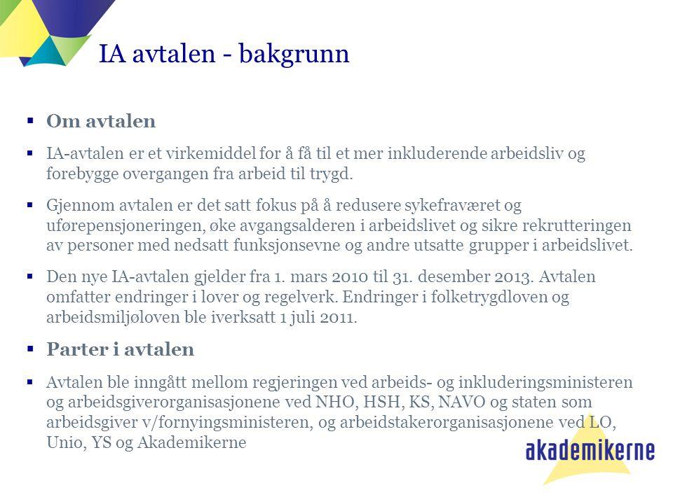 IA-avtalen – noen av de viktigste dokumentene  Intensjonsavtale om et mer inkluderende arbeidsliv (IA-avtalen) -fremforhandlet mellom partene i arbeidslivet og myndighetene 24.