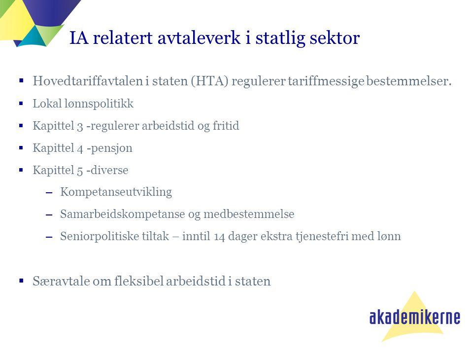  Hovedtariffavtalen i staten (HTA) regulerer tariffmessige bestemmelser.  Lokal lønnspolitikk  Kapittel 3 -regulerer arbeidstid og fritid  Kapitte