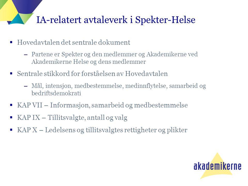 IA-relatert avtaleverk i Spekter-Helse  Hovedavtalen det sentrale dokument –Partene er Spekter og den medlemmer og Akademikerne ved Akademikerne Hels