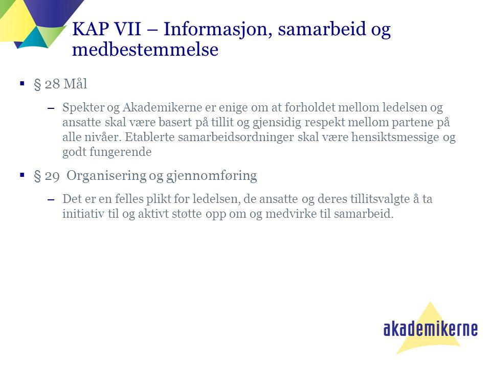KAP VII – Informasjon, samarbeid og medbestemmelse  § 28 Mål –Spekter og Akademikerne er enige om at forholdet mellom ledelsen og ansatte skal være b