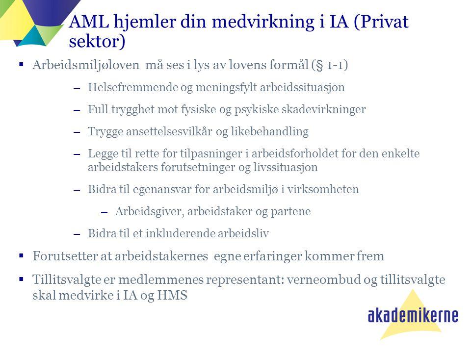 AML hjemler din medvirkning i IA (Privat sektor)  Arbeidsmiljøloven må ses i lys av lovens formål (§ 1-1) –Helsefremmende og meningsfylt arbeidssitua