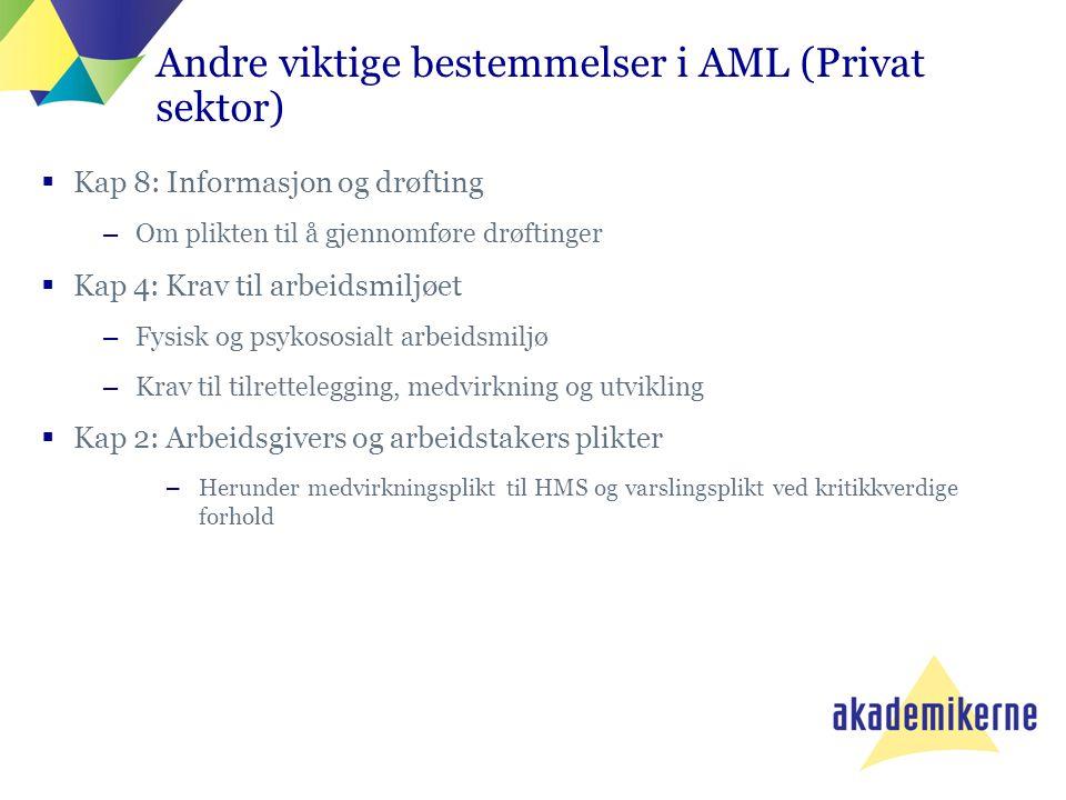 Andre viktige bestemmelser i AML (Privat sektor)  Kap 8: Informasjon og drøfting –Om plikten til å gjennomføre drøftinger  Kap 4: Krav til arbeidsmi