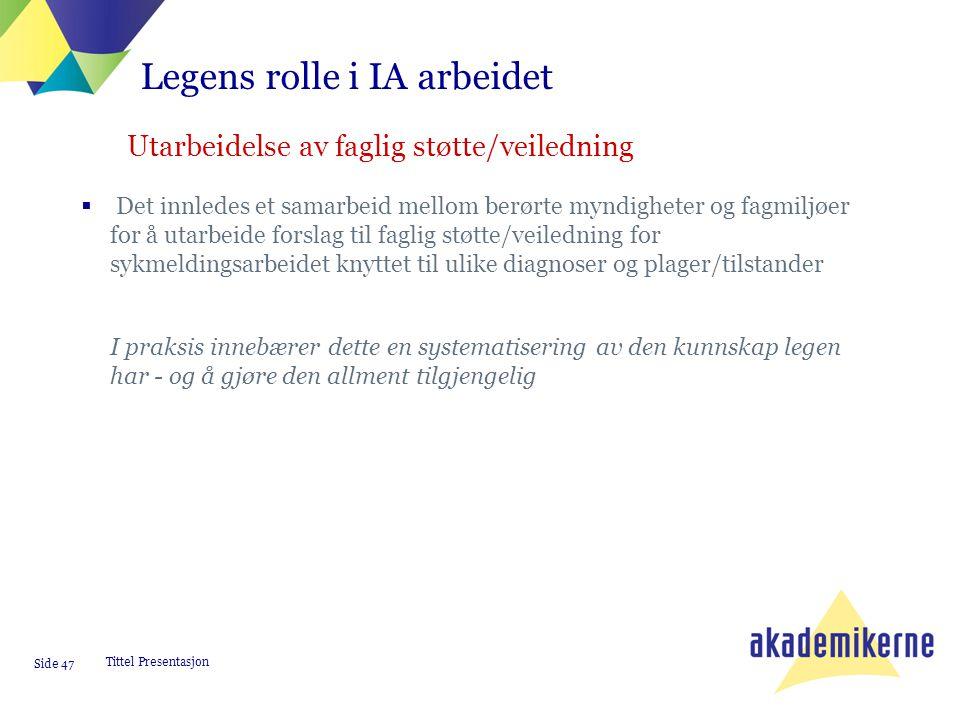 Tittel Presentasjon Side 47  Det innledes et samarbeid mellom berørte myndigheter og fagmiljøer for å utarbeide forslag til faglig støtte/veiledning