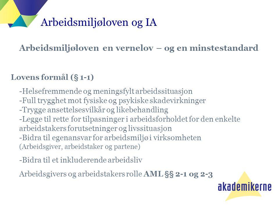 Arbeidsmiljøloven og IA Arbeidsmiljøloven en vernelov – og en minstestandard Lovens formål (§ 1-1) -Helsefremmende og meningsfylt arbeidssituasjon -Fu