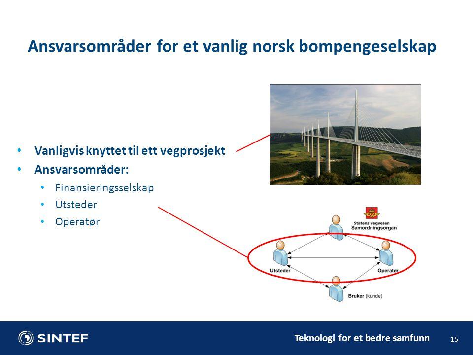 Teknologi for et bedre samfunn Vanligvis knyttet til ett vegprosjekt Ansvarsområder: Finansieringsselskap Utsteder Operatør 15 Ansvarsområder for et vanlig norsk bompengeselskap