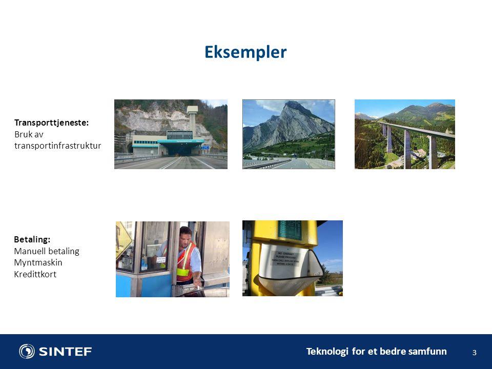 Teknologi for et bedre samfunn 3 Eksempler Transporttjeneste: Bruk av transportinfrastruktur Betaling: Manuell betaling Myntmaskin Kredittkort