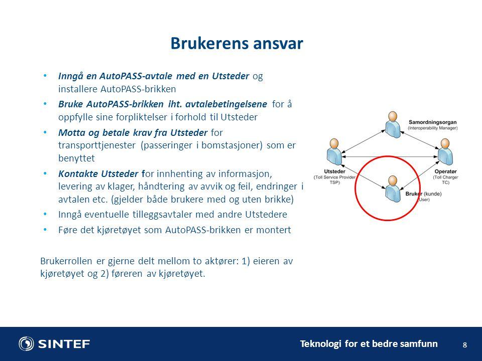 Teknologi for et bedre samfunn Inngå en AutoPASS-avtale med en Utsteder og installere AutoPASS-brikken Bruke AutoPASS-brikken iht.