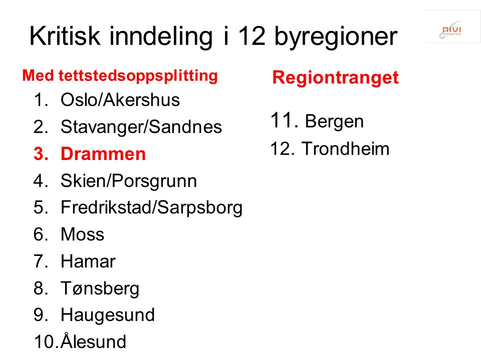Kritisk inndeling i 12 byregioner 1.Oslo/Akershus 2.Stavanger/Sandnes 3.Drammen 4.Skien/Porsgrunn 5.Fredrikstad/Sarpsborg 6.Moss 7.Hamar 8.Tønsberg 9.Haugesund 10.Ålesund 11.