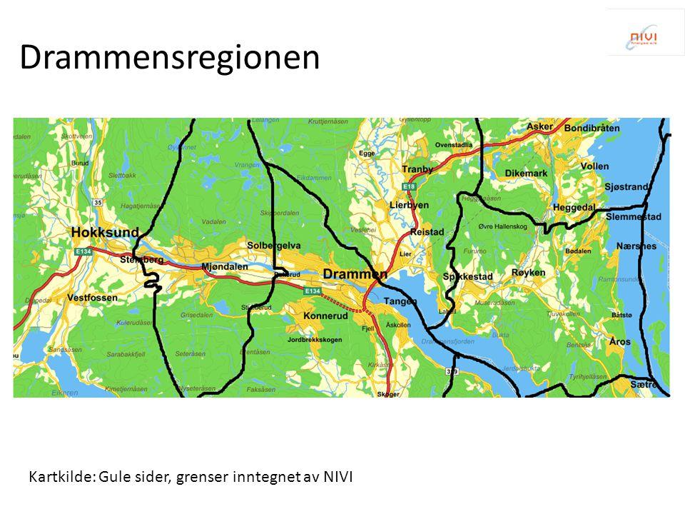 Kartkilde: Gule sider, grenser inntegnet av NIVI Drammensregionen