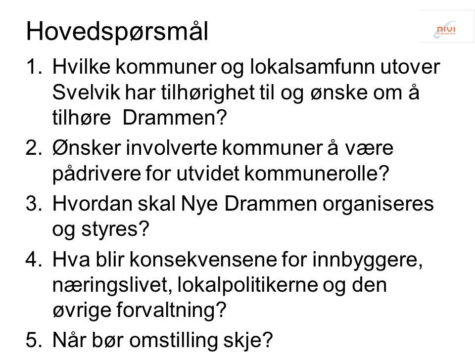 Hovedspørsmål 1.Hvilke kommuner og lokalsamfunn utover Svelvik har tilhørighet til og ønske om å tilhøre Drammen.